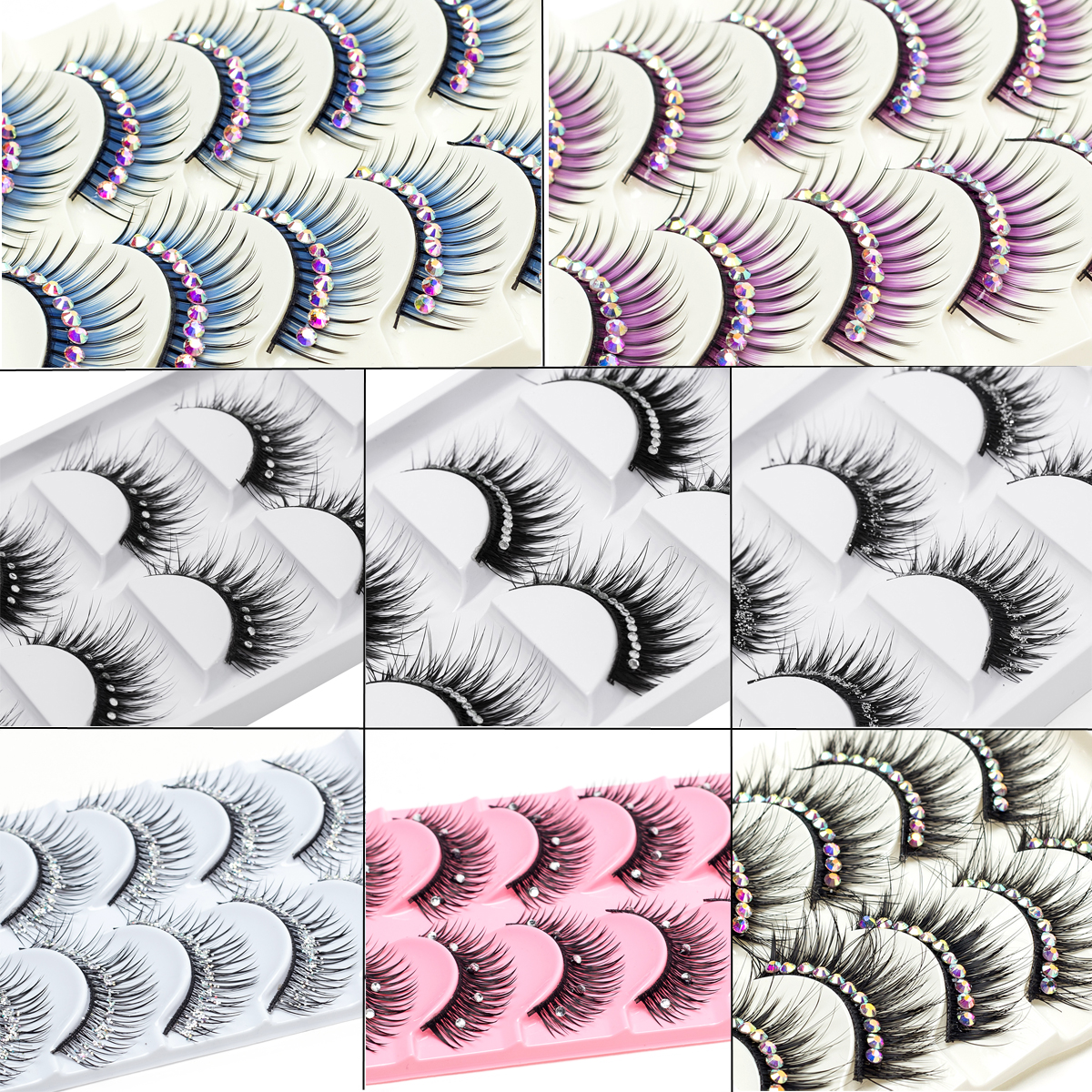 ICYCHEER 5 Pairs Makeup False Diamond Eyelashes Natural Lashes Extension Handmade Long Mink Lash Glitter Fake Eyelash Cosmetics