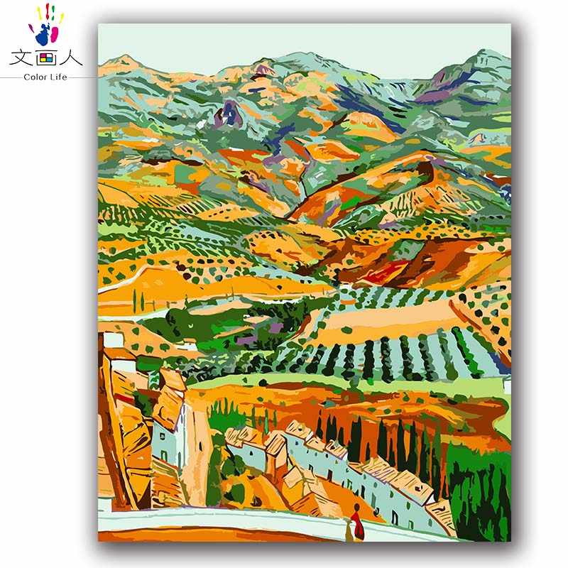 Coloring painting by numbers diy Distant Field Van gogh's paintings Rural landscape picture color paint by numbers with package