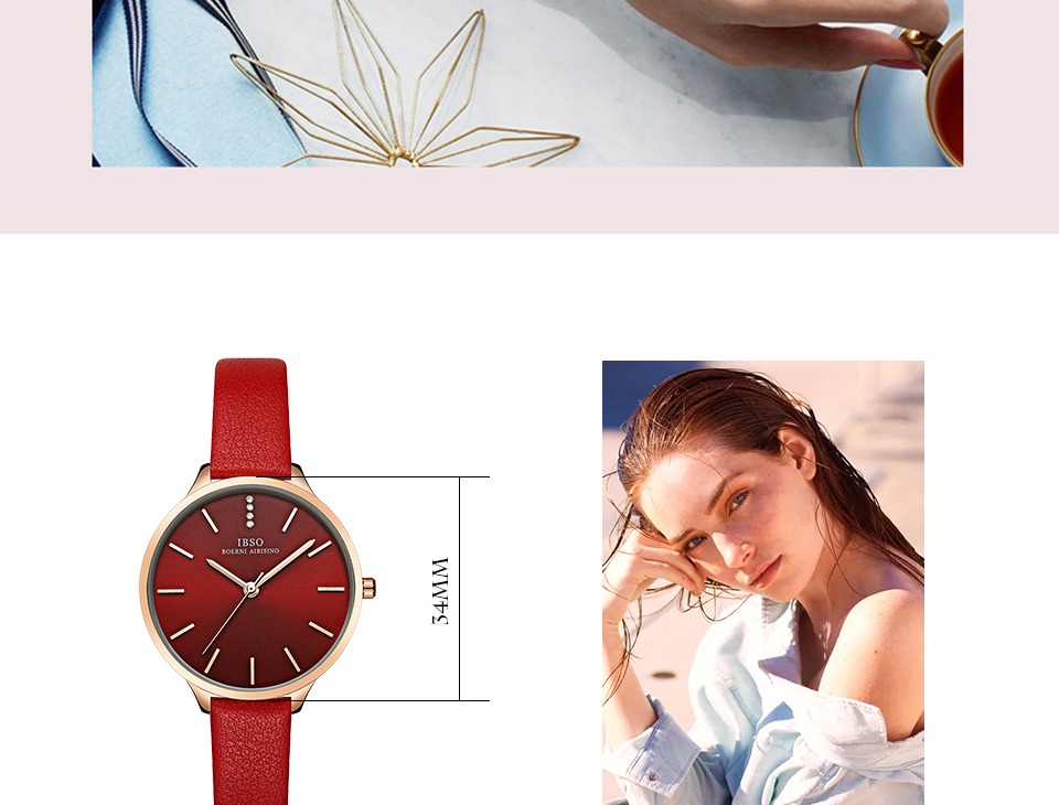 2019 IBSO Women Fashion Watch Luxury Rose Gold Quartz Analog Watch Blue Leather Strap Ultra Thin Watches for Ladies Montre Femme