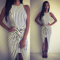 2016 Sexy Women Summer Boho Long Maxi Dresses Striped Beach Simple Bodycon Dresses Sundress