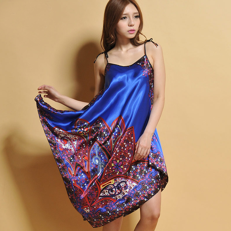6 Colors Vintage Printed Female Spaghetti Strap   Nightgowns   Women's Summer Satin Nightdress Sexy   Sleepshirt   Robe Gown