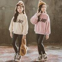 Long Sleeve Shirt Girl Kids Clothes 2018 New Fashion Tee Shirt Teenagers Teen Clothing Warm Winter Children Tops 7 8 9 10 11 12