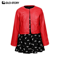 GLO STORY Shipped From European Kids Girls 2018 New Cute Animal A lined Dress with Jackets Suits Children Christmas Sets 7501