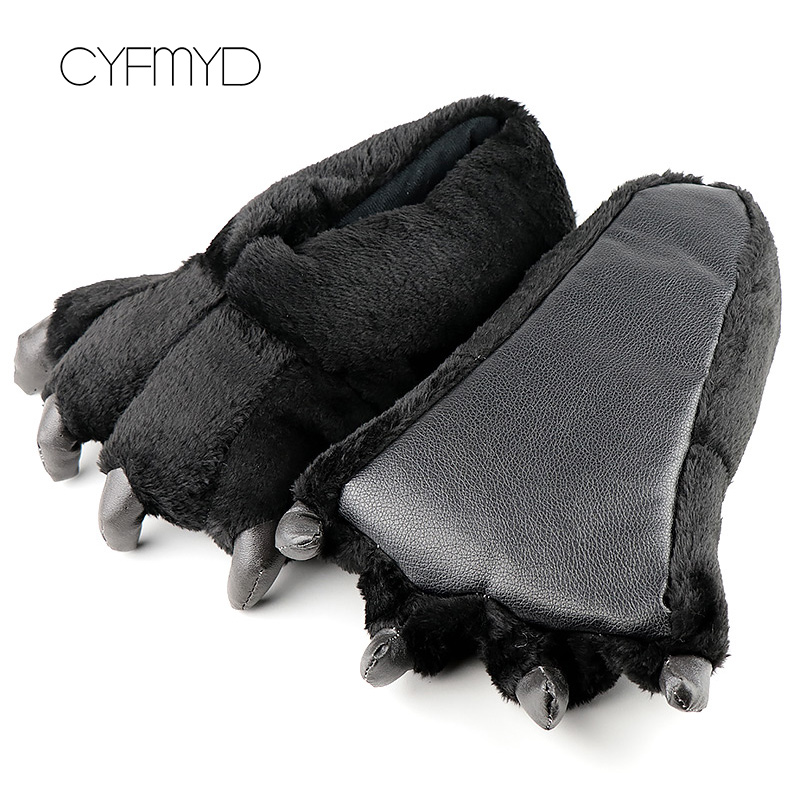 Men Slippers Imitation Bear Catch Lovely Plush Slippers Adult Soft Indoor Slippers Men Solid Fur Home Shoes