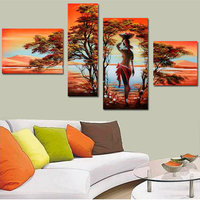 Beautiful Sexy Nude Women Oil Painting Abstract African Women Nude Figure Painting Art Landscape Paint Wall Art 4 Panel Unframed