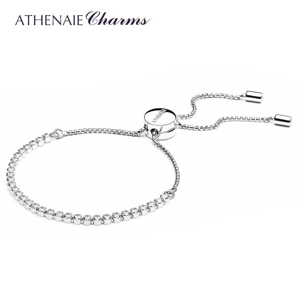 ATHENAIE 925 пробы серебро Ясно CZ сверкающая Нить Браслет Длина 23 см (9 дюймов) Для женщин ювелирные изделия подарок