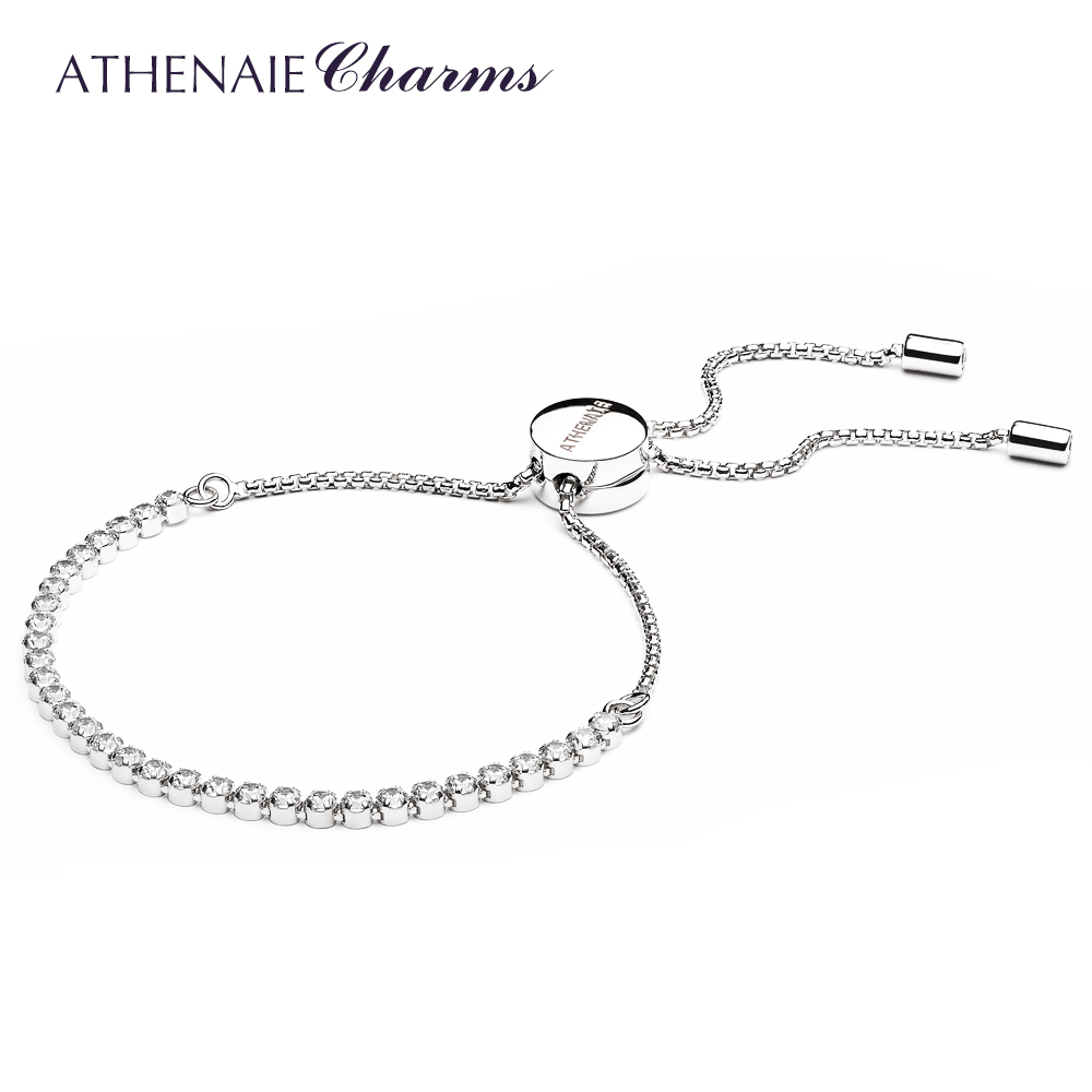 ATHENAIE 925 Sterling Silver Clear CZ Sparkling Strand Bracelet Length 23cm(9inch) Women Link Jewelry Gift