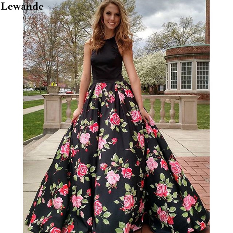 Lewande Floral Printed Halter Prom Dress for Homecoming A Line Flower Skirt  Pocket Open Back Satin Bridesmaid Pageant Gown 23f00731a