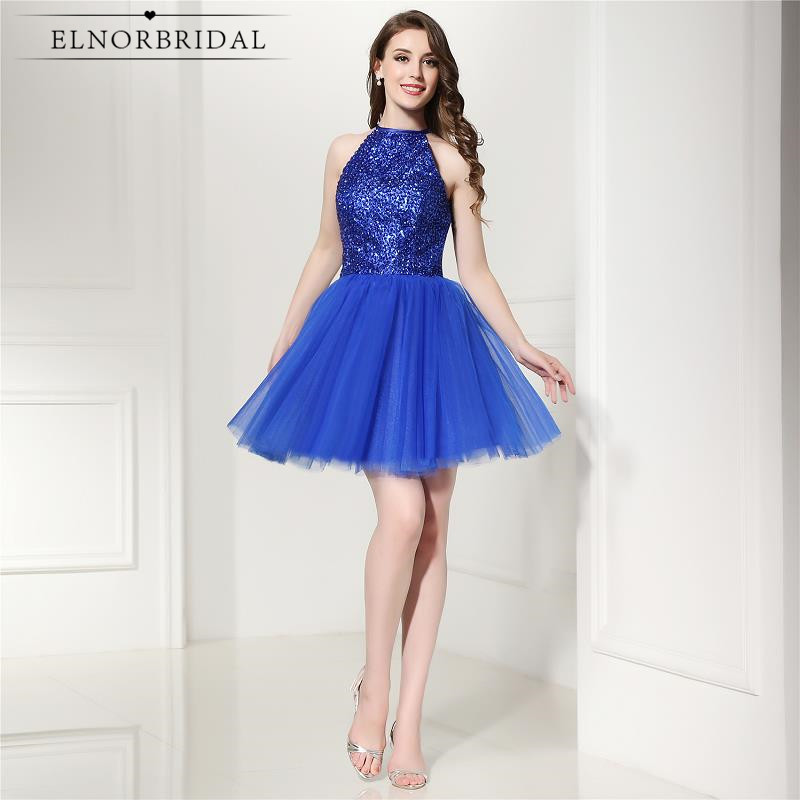 Royal Blue Short Prom Dresses 2018 Vestidos De Formatura Curto Beading Formal Evening Dress Mini