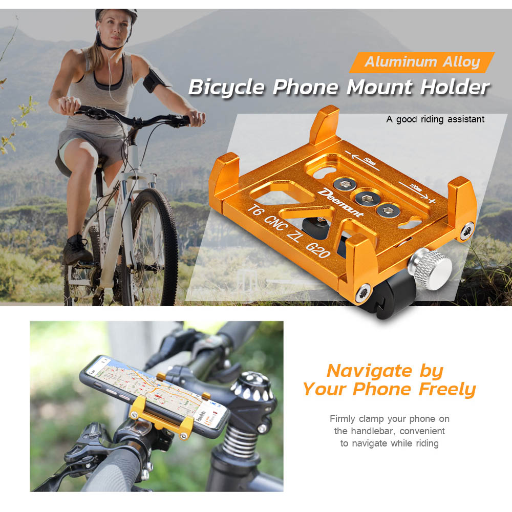 Deemount Universal Aluminum Alloy Bicycle Mobile Phone Holder For Bicycle Motorcycle Handlebar Mount Holder Bike Accessories bicycle bike plastic mount holder for digital camera mini dv orange black