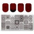 12*6 cm NACIDO PRETTY Rectangle Clavo Que Estampa Placa de la Imagen Plantilla de Diseño Floral Manicura BP-L053