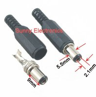 Free shipping 250 PCS 2.1 x 5.5 x 9mm short Connector Male DC Power Jack Plug