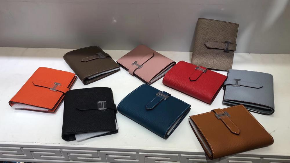 Kafunila Women Genuine Leather Short Wallet High Quality Designer Famous Brand Mini Coin Purse Card Holder Female Money Bags