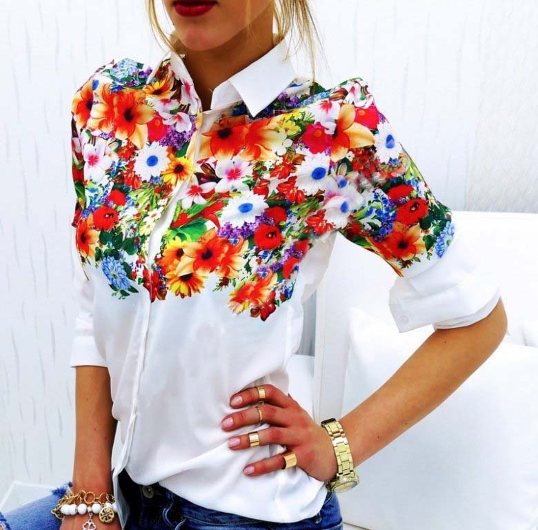Blouses & Shirts Aliexpress Spring All-match Explosion White Printing Long Sleeved Blouse Wj166 Vestidos