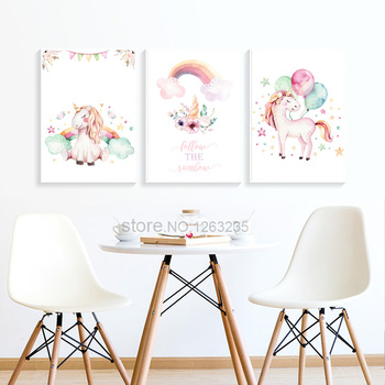 Unicorn Room Decor Wall Art Canvas Painting Unframed