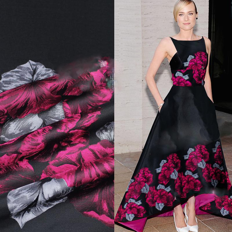 American style luxury black red big floral positioning jacquard brocade fabric for winter coat tissue tejido