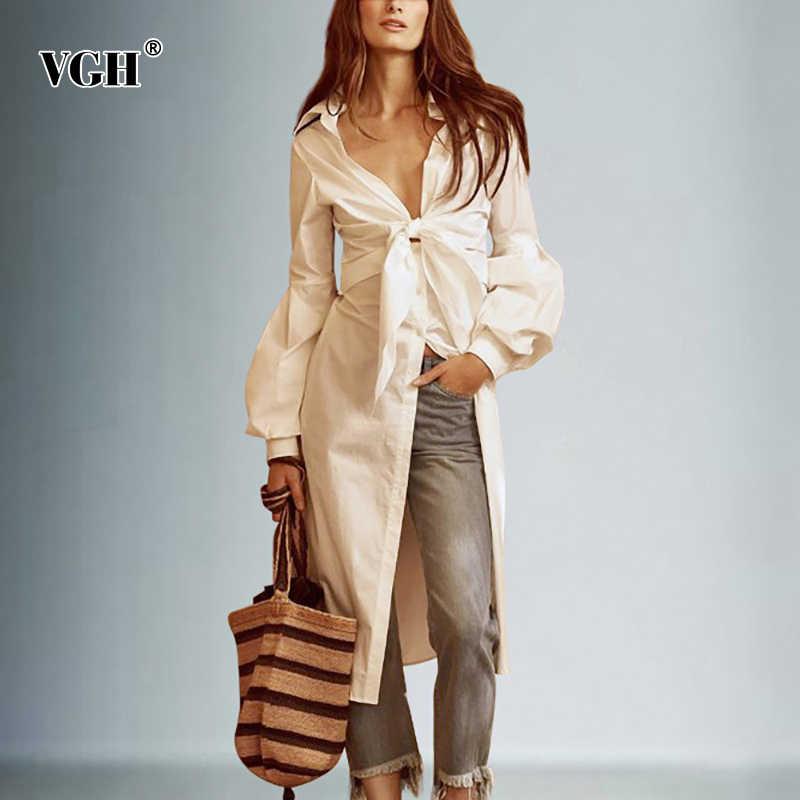 VGH coréen Bow longue longueur femmes hauts et chemisiers revers col lanterne manches automne lâche mode femme chemise mode nouveau