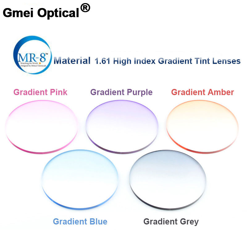 Излучения защиты 1.61 высокий индекс MR-8 супер-жесткие градиент оттенок hmc emi Anti UV оптические линзы для Отделка без оправы солнцезащитные очки ...