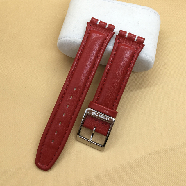 Nuevo cuero genuino strap19mm correa de reloj pulsera de cuero suave accesorios para reloj SWATCH ywb401 suob710