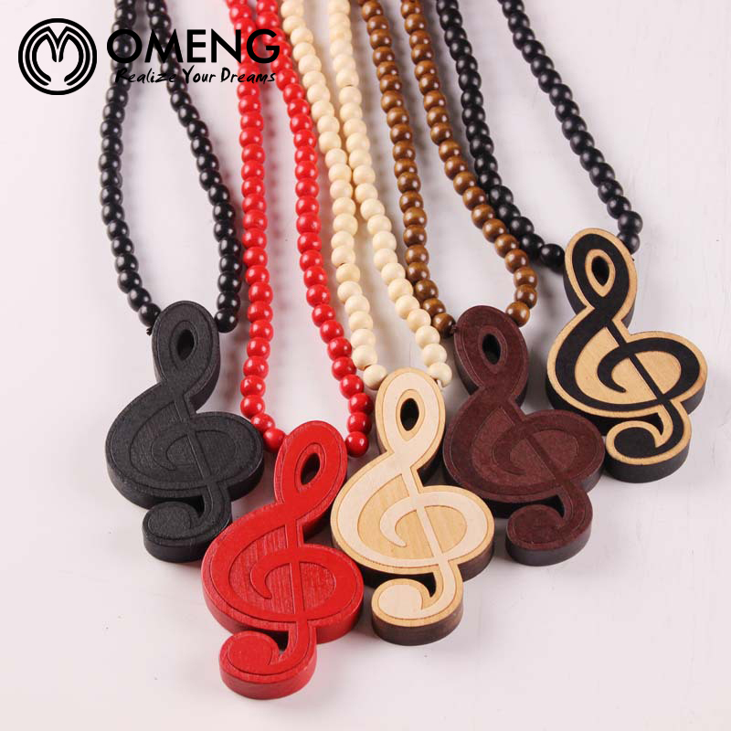 OMENG Men's Hip Hop Necklace Colares Femininos Vintage Boho Long Bead Chain Music Symbol Wood Necklace Women Collier OXL456