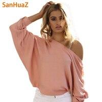 SanHuaZ 2017 Autumn Winter Women S Sweaters Casual Slash Neck Off The Shoulder Bandage Loose Women