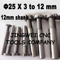 2PCS 25mmX3 4 5 6 8 10 12MM HSS T Slot Milling Cutter With Staggered Teeth