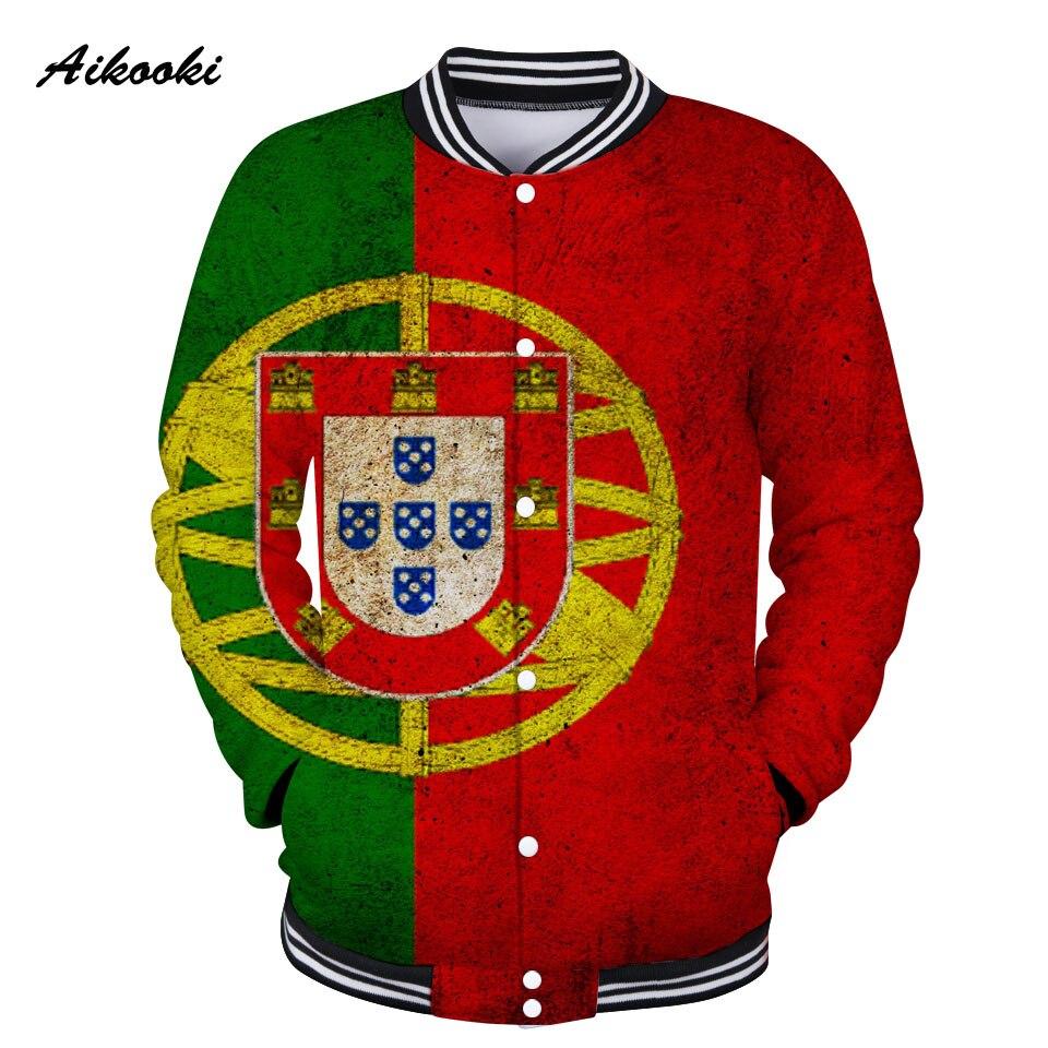 Aikooki Portugal National Flag 3D Jacket Baseball Men Fashion Coat Women Jacket Sweatshirt 3D Portuguese Flag Winter Jacket Men