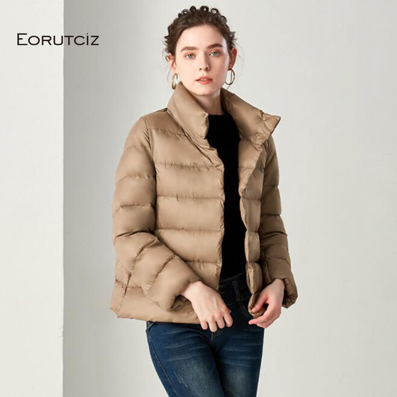 EORUTCI Winter Duck   Down     Coat   Women Short Ultra Light Jacket Thick Slim Vintage Casual Black Autumn   Coat   LM363