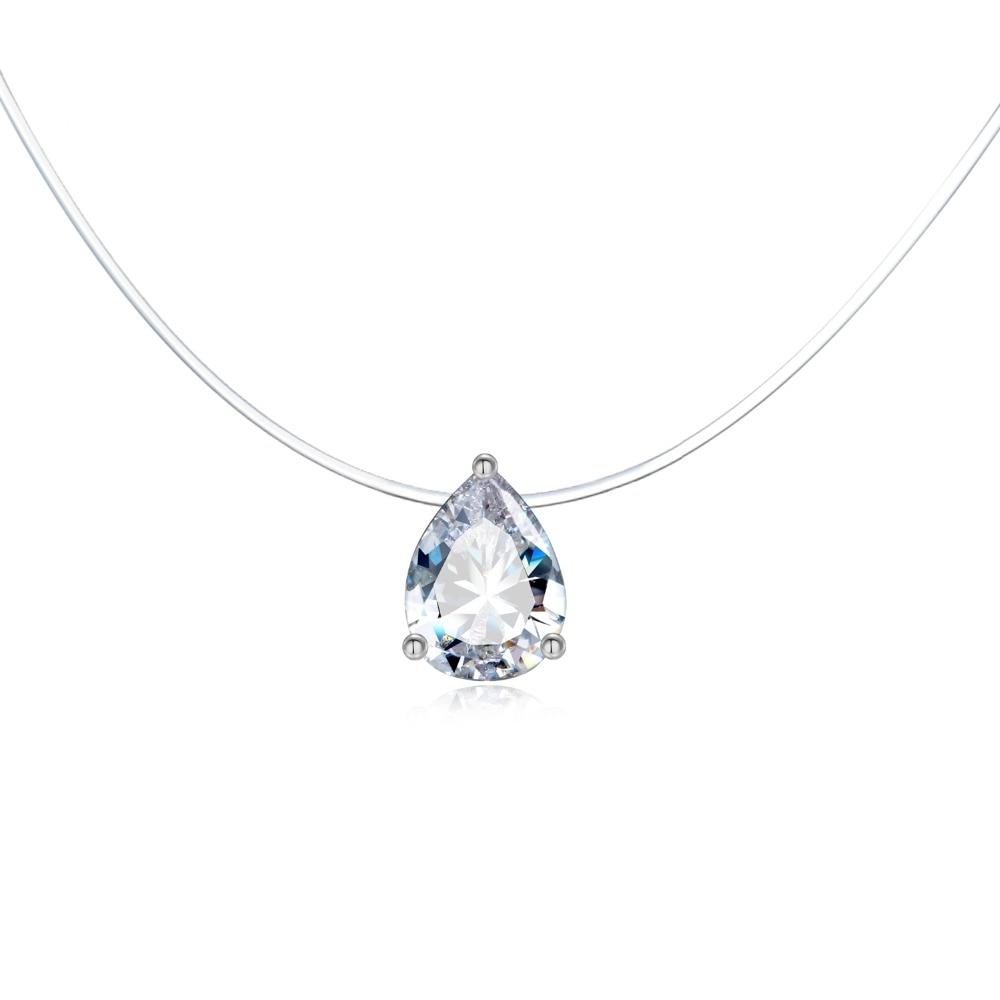 Женское ожерелье с подвеской в форме капли, прозрачное циркониевое ожерелье, белая цепочка для рыбалки, N16
