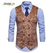 Covrlge Vest Men Suit Gilet Homme Wedding Sleeveless Slim Fit Leopard Print Dress Vests for Single Buttons Waistcoat MWX041