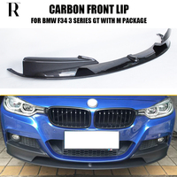 3PCS SET F34 Carbon Fiber Front Bumper Lip Chin Spoiler For BMW F34 3 Series GT