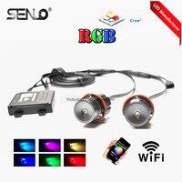 جديد wifi e39 rgb led انخيل العين 20 واط لسيارات bmw e87 e39 e60 e65 e53 e46 e38 e36 هالو الدائري الهاتف المثالي تحكم الألوان تغيير