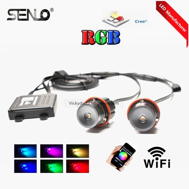 Nové wifi E39 rgb vedlo andělské oko 20 W pro BM W E87 E39 E60 E65 E53 e46 e38 e36 Perfektní změna barvy ovladače telefonu s halogenovým kroužkem