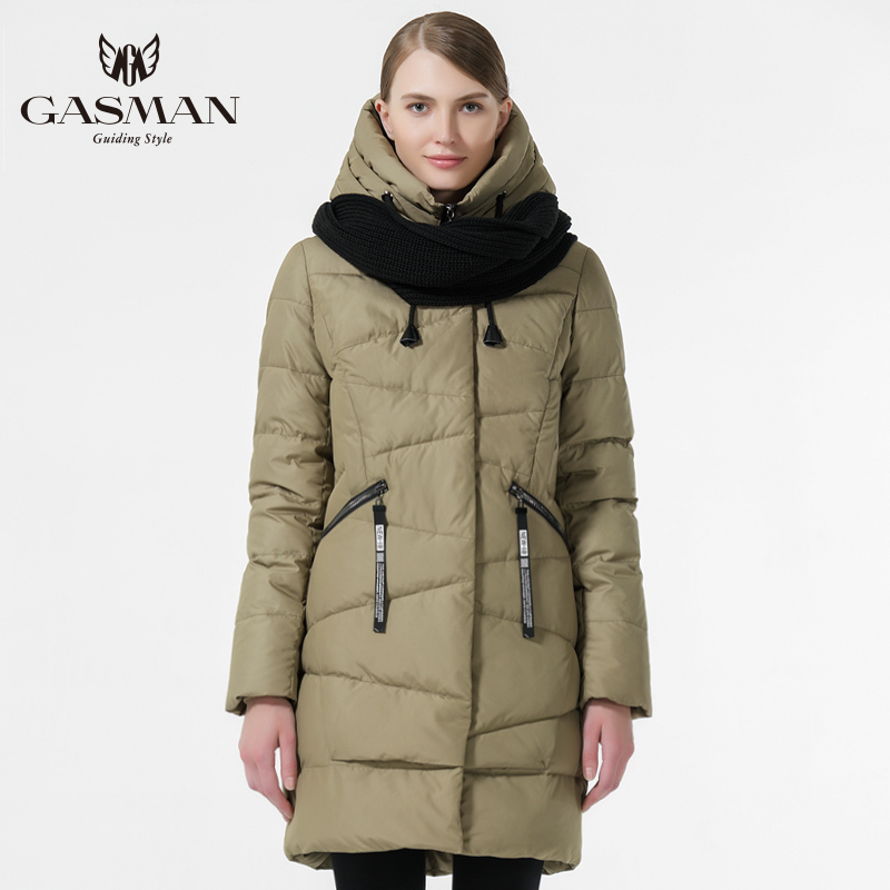 GASMAN 2019 Winter Women Thickening Bio Down Jacket Winter Warm Hooded Down Parka Medium Length Fashion