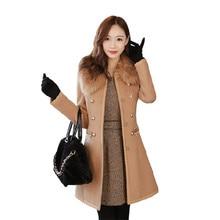 2016 New Fashion Spring Coat Women Slim Wool blended Detachable Fur Collar Coat Winter Woollen Coat Women casaco feminino