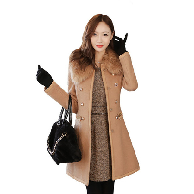 2016 New Fashion Spring Coat Women Slim Wool blended Detachable Fur Collar Coat Winter Woollen Coat Women casaco feminino