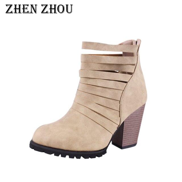 476484279f06 zhen zhou woman boots 2018 fashion pinted toe zipper solid thick heels plus  size women boots high heels martin boots girls shoes