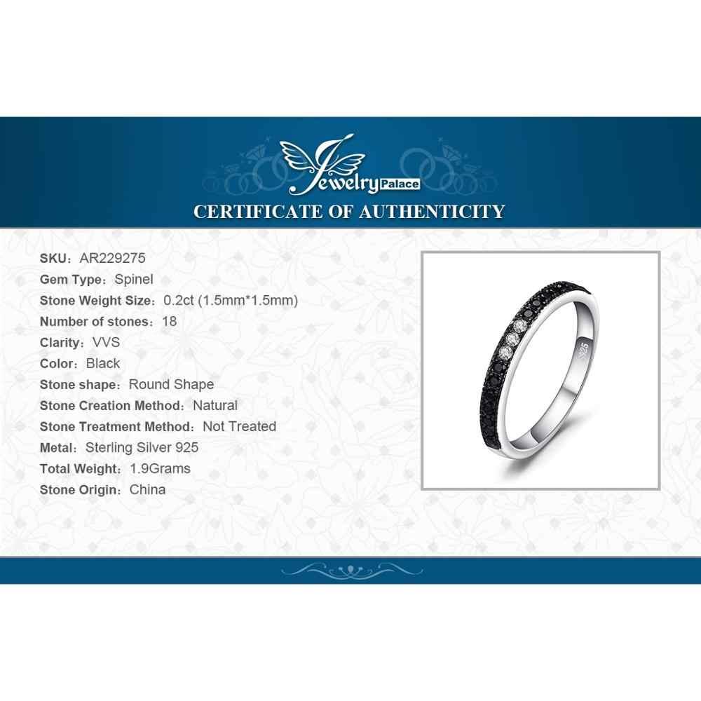 JewelryPalace 0.25ct genuino negro Spinel Channle Set anillo 925 anillos de plata esterlina ajustable para la joyería fina de las mujeres Venta caliente