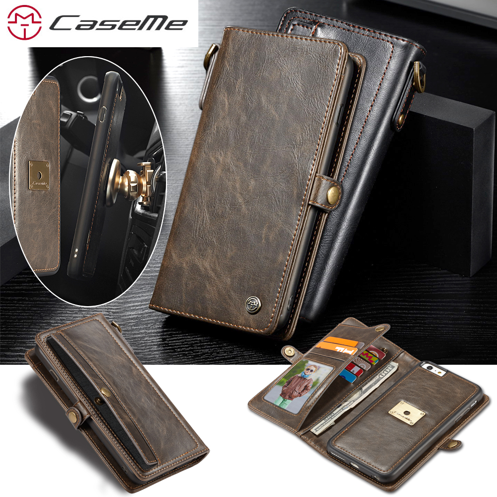 CaseMe Brand 2 in 1 Leather Wallet Case For iPhone 6 6s 7 8 Plus Vintage Flip Cover for Samsung Galaxy S8 Plus Phone Cases Coque
