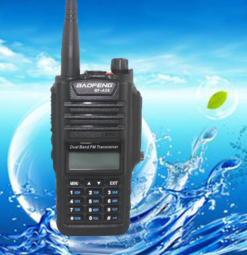 2017 NEW Professional Walkie Talkie Baofeng BF A58 Waterproof BAOFENG With FM Radio Station Ham Radio Two Way Dual Band Vhf Uhf