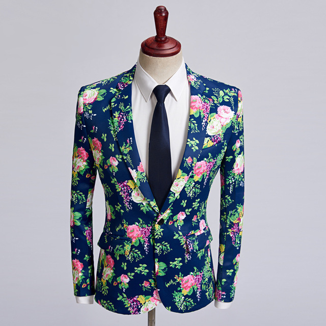 2018 New Tide Men Blazer Designs Dark Blue Pink Flower Pattern Slim Fit Casual Suit Jacket Stylish Wedding Groom Costume