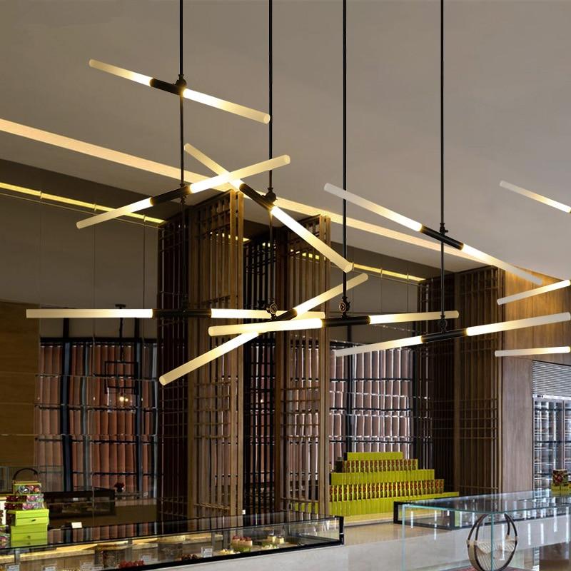 Modern Led Pendant Lights For Lobby Dining Living Room House Gold Black Acrylic Suspension Luminaire Art Deco Pipe Light Lamp