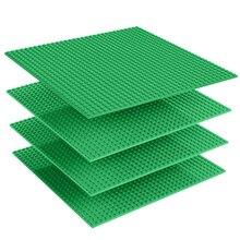 4pcsCS/Lot double dsides baseplate 25.5*25.5cm 32*32 dots building brick base 13 colors plate blocks compatible with legoed
