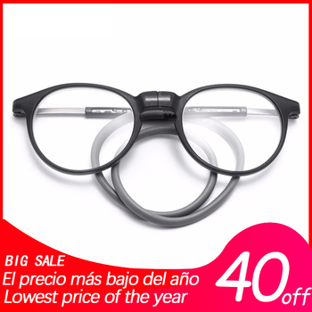Unbreakable vision folding glasses Magnetic Adjustable Silicone Hanging Neck diopter reading glasses #MR8233