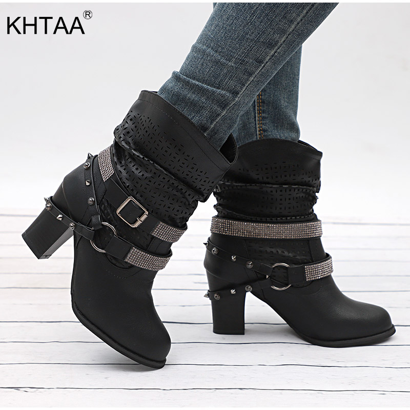 KHTAA Women Rivet Crystal Buckle Strap Cut Out Ankle Boots Female Platform Chunky High Heels Ladies Fashion Shoes Plus Size new fashion rivet hollowed out women sandals round toe chunky high heels ankle buckle female sandals mesh ladies leisure shoes