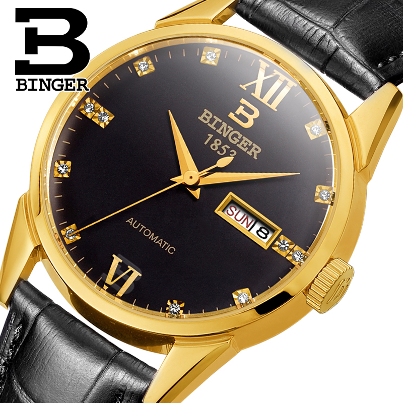 Switzerland men's watch luxury brand Wristwatches BINGER 18K gold Automatic self-wind full stainless steel waterproof  B1128-19 switzerland watches men luxury brand wristwatches binger luminous automatic self wind full stainless steel waterproof bg 0383 4