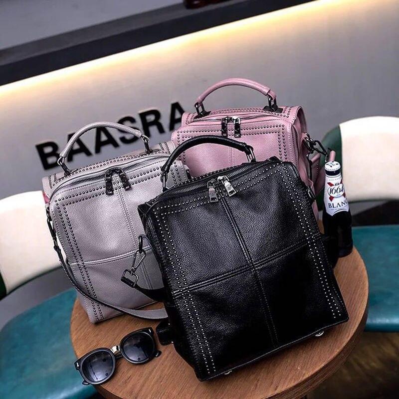 Nouveau Style Simple Stud sac à dos femmes en cuir sacs à dos pour adolescents sacs d'école mode Vintage solide noir épaule mochil