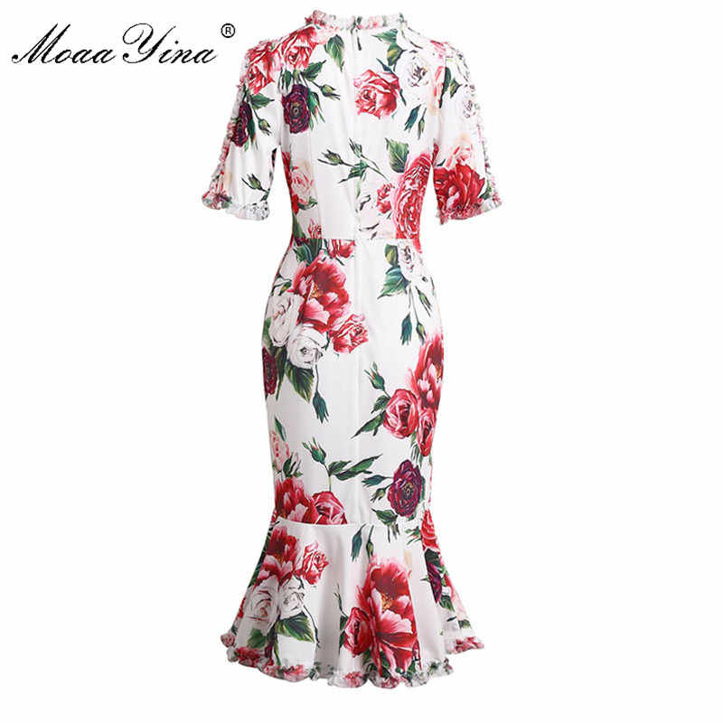 MoaaYina подиумная Сексуальная Упаковка Ягодицы коктейльное платье летние женские очаровательные Ruched Цветочные печати вечерние тонкие элегантные платья