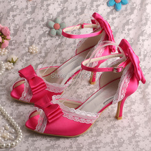 Wedopusชื่อแบรนด์วินเทจสไตล์รองเท้าแตะผู้หญิงแต่งงานเจ้าสาวรองเท้าFuchsiaซาติน8เซนติเมตรส้น
