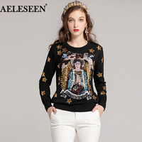 AELESEEN High Quality Women Sweater 2018 Runway Autumn Sequined Star BlackCasual Sweater Fashion New Designer Sweater Knit